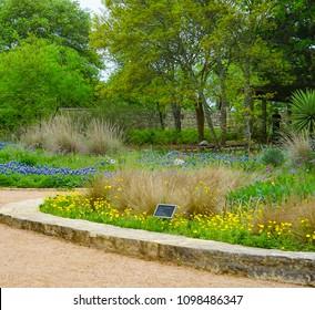 AUSTIN, TEXAS - APRIL 3, 2018 - The Silo Courtyard Garden at Lady Bird Johnson Wildflower Center
