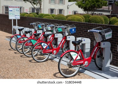 AUSTIN, TEXAS - AUGUST 23, 2015: Bicycles can be rented by the hour for touring around the city at the B-cycle Station kiosk in Austin, TX, USA.