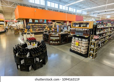 AUSTIN, TEXAS - CIRCA MARCH 2017: An HEB beer and wine department sells wine, craft beer, and mixers in a grocery store in Austin, Texas.