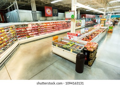 AUSTIN, TEXAS - CIRCA MARCH 2017: An HEB meat market department sells beef, chicken, and pork products prepared by professional butchers in a grocery store in Austin, Texas.