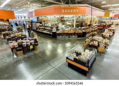 AUSTIN, TEXAS - CIRCA MARCH 2017: An HEB bakery department sells cakes, cookies, and other baked goods in a grocery store in Austin, Texas.