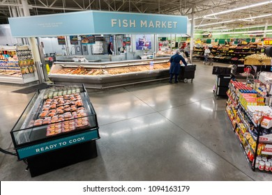 AUSTIN, TEXAS - CIRCA MARCH 2017: An HEB seafood department sells fish, shrimp, and other crustaceans in a grocery store in Austin, Texas.