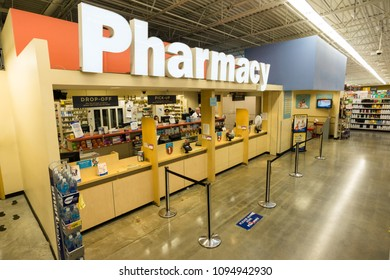 AUSTIN, TEXAS - CIRCA MARCH 2017: An HEB pharmacy department sells medications, vaccines, and other medical services in a grocery store in Austin, Texas.
