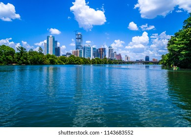 Austin , Texas cityscape line modern urban capital city of Texas gorgeous blue clear waters of town lake on the waters edge