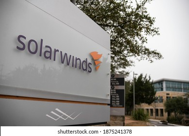 Austin, Texas - December 15, 2020: SolarWinds Headquarters entrance