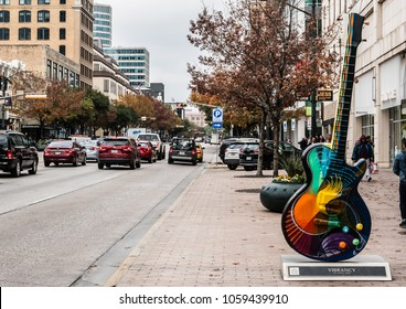 "AUSTIN, TEXAS - DECEMBER 30, 2017: ""Vibrancy"", a sculpture by Craig Hein can be seen close to the street on the east side of 4th and Congress."