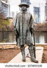 AUSTIN, TEXAS - DECEMBER 30, 2017: Statue of Stevie Ray Vaughan located at the intersection of Town Lake Hike and Bike Trail downtown.
