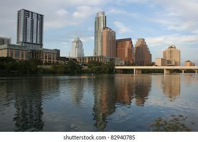 Austin, Texas downtown skyline across river