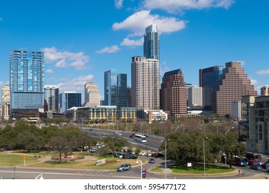 AUSTIN, TEXAS - FEBRUARY 17 2017: part of the Austin city skyline viewed from the south of Lady Bird Lake