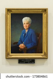 AUSTIN, TEXAS - JANUARY 6: Portrait of Ann W. Richards, Governor from 1991-1995, in the rotunda of the Texas State Capitol building on January 6, 2014 in Austin, Texas