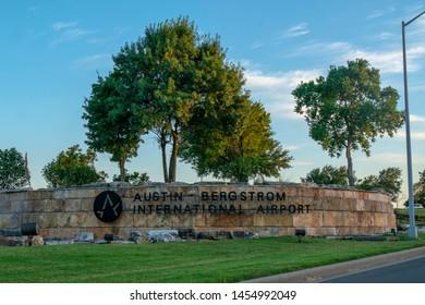 Austin, Texas - July 18 2019: Austin Bergstrom International Airport AUS sign