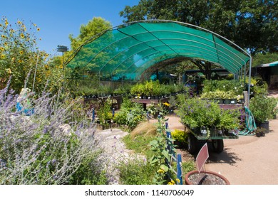 AUSTIN, TEXAS - JULY 19 2018: an open sided green house full of plants