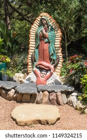 AUSTIN, TEXAS - JULY 19 2018: a nursery garden with a religious statue