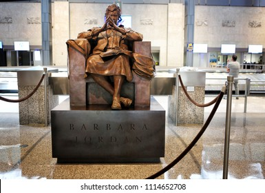 Austin, Texas, June 3, 2018.  Sculpture of Barbara Jordan, American lawyer, educator and politician, in Austin-Bergstrom international Airport.