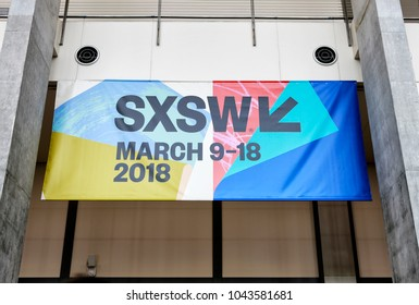 AUSTIN, TEXAS - MAR 11, 2018: SXSW South by Southwest Annual music, film, and interactive conference and festival in Austin, Texas. SXSW sign in Austin Convention Center