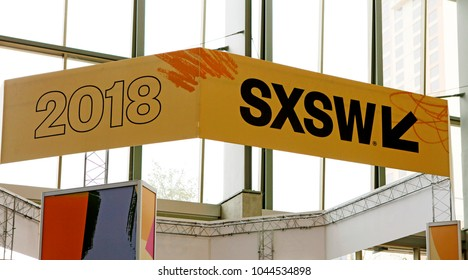 AUSTIN, TEXAS - MAR 11, 2018: SXSW South by Southwest Annual music, film, and interactive conference and festival. SXSW sign at Austin Convention Center