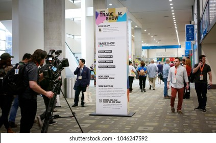 AUSTIN, TEXAS - MAR 11, 2018: SXSW South by Southwest Annual music, film, and interactive conference and festival.  Members of conference in Austin Convention Center.