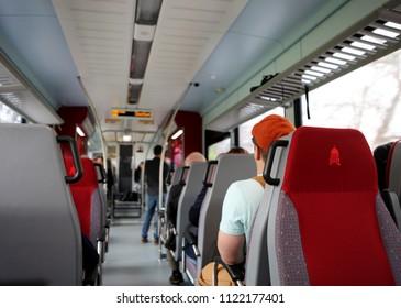 Austin, TEXAS - MAR 11, 2018: Capital metro bus, inside view. Focus on Capitol Metro symbol. Public transportation concept.