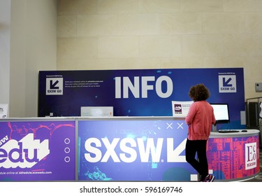 AUSTIN, TEXAS - MAR 8, 2017: SXSW  South by Southwest  Annual music, film, and interactive conference and festival in Austin, Texas. Information desk