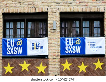 AUSTIN, TEXAS - MARCH 11, 2018: SXSW South by Southwest Annual music, film, and interactive conference and festival. SXSW sign in downtown building window