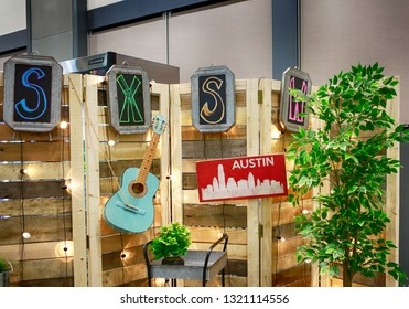 AUSTIN, TEXAS - MARCH 11, 2018: SXSW South by Southwest Annual music, film, and interactive conference and festival. Symbolic decoration at Austin Convention Center.
