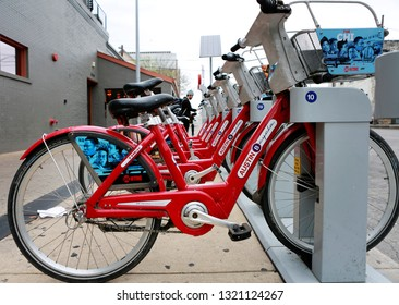 AUSTIN, TEXAS - MARCH 11, 2018: South by Southwest Annual music, film, and interactive conference and festival. SXSW popular transportation: bicycles.