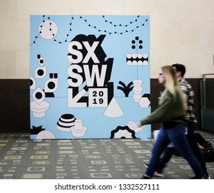 AUSTIN, TEXAS - MARCH 7, 2019: SXSW South by Southwest Annual music, film, and interactive conference and festival. SXSW sign in Austin Convention Center
