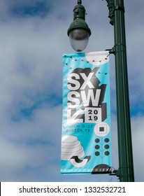 AUSTIN, TEXAS - MARCH 7, 2019: SXSW South by Southwest Annual music, film, and interactive conference and festival. SXSW sign in Austin  downtown