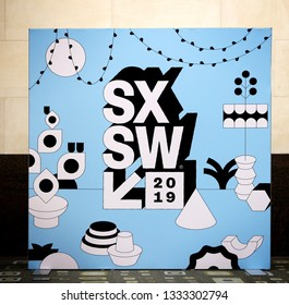 AUSTIN, TEXAS - MARCH 7, 2019: SXSW South by Southwest Annual music, film, and interactive conference and festival. SXSW sign