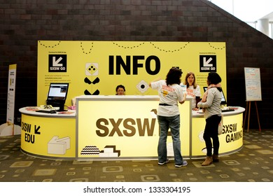 AUSTIN, TEXAS - MARCH 7, 2019: SXSW South by Southwest Annual music, film, and interactive conference and festival. Information desk