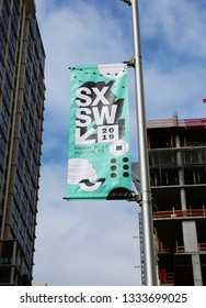 AUSTIN, TEXAS - MARCH 7, 2019: SXSW South by Southwest Annual music, film, and interactive conference and festival. SXSW symbol in downtown Austin