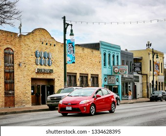AUSTIN, TEXAS - MARCH 7, 2019: SXSW South by Southwest Annual music, film, and interactive conference and festival. SXSW posters in downtown Austin, famous 6th street.