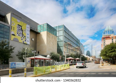 AUSTIN, TEXAS - MARCH 7, 2019: SXSW South by Southwest Annual music, film, and interactive conference and festival. Capitol metro rail station at Austin Convention Center at 4th street during the SXSW