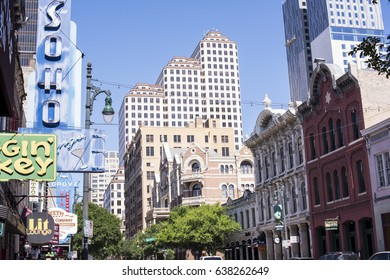 AUSTIN, TEXAS - May, 2, 2017: Sixth Street is a historic street and entertainment district of downtown Austin, Texas.  The two and three story Victorian buildings were constructed in the late 1800s.
