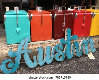 Austin , Texas Metal word letters with Colorful Metal Retro Coolers on a nice day in the wonderful city of Austin , TEXAS