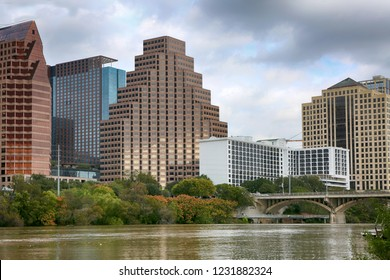"Austin, Texas, November 2, 2018: A downtown skyline on the Colorado River. Austin is the capital of the U.S. state of Texas and ""world capital of life music""."