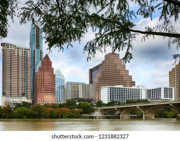 """Austin, Texas, November 2, 2018: A downtown skyline on the Colorado River. Austin is the capital of the U.S. state of Texas and """"world capital of life music""""."""