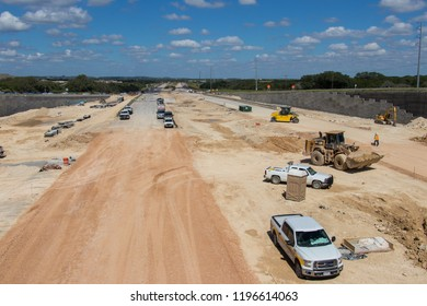 AUSTIN, TEXAS - OCTOBER 4 2018: a very straight section of a new highway to be in Austin Texas