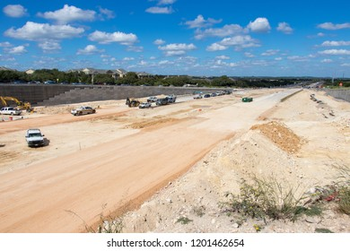 AUSTIN, TEXAS - OCTOBER 4 2018: a new stretch of highway in the process of being constructed