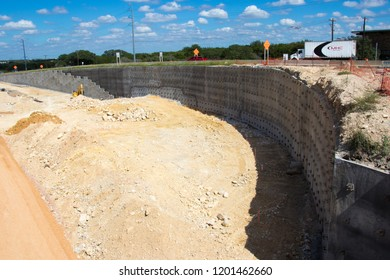 AUSTIN, TEXAS - OCTOBER 4 2018: a highway retaining wall in the process of being built