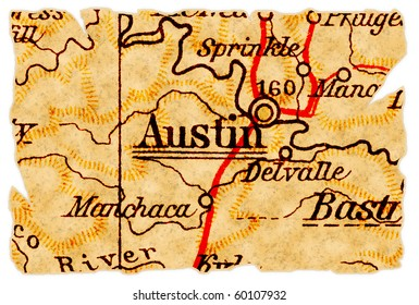 Austin, Texas on an old torn map from 1949, isolated. Part of the old map series.