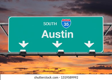Austin Texas route 35 south overhead freeway sign with sunset sky.