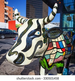 AUSTIN, TEXAS - SEPTEMBER 14, 2011: Photo of one of many Painted Cows which decorated streets of Austin.