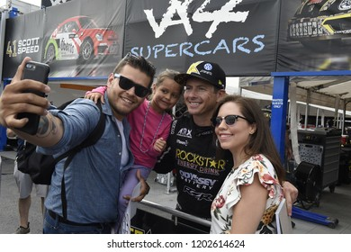 AUSTIN, TEXAS - SEPTEMBER 30:   Tanner Foust (USA) greets fans before the Rallycross World Championships at The Circuit of the Americas on September 30, 2018 in Austin, Texas.