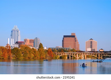 Austin Texas skyline along the Colorado river.