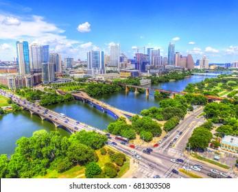 Austin Texas Skyline Cityscape Bridges Over Ladybird Lake Aerial View Traffic Buildings River Texas Tourism