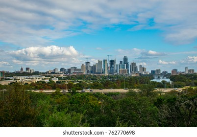 Austin Texas skyline cityscape fall landscape in the capital city during sunny afternoon from Zilker Park Clubhouse