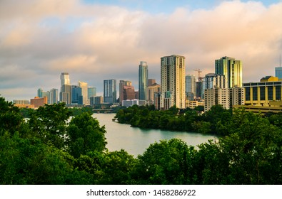 Austin Texas skyline Cityscapes sunrise over Travis heights view across Lady Bird Lake at the 2019 downtown skyline