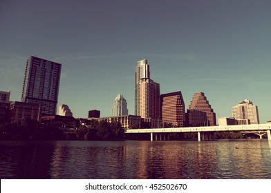Austin, Texas skyline during the day with warm, faded vintage tones