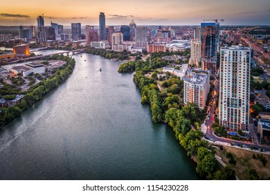 Austin, Texas Skyline During Sunset